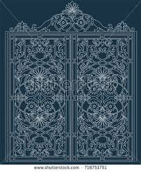 white metal gate forged ornaments against stock vector 716751751