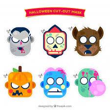 pack funny halloween masks flat design vector free download