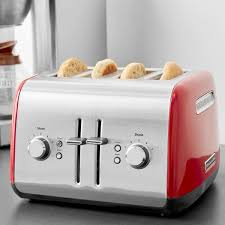 Kitchenaid 4 Slice Toaster Red Kmt4115er Empire Red Four Slice Toaster With Manual Lift