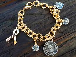 gold chain bracelet with charm images Charmz4change live love rescue multi charm bracelet gold dipped jpg