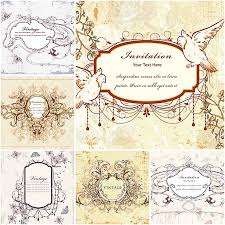 Invitation Cards Free Download Vector Vintage Wedding Invitations With Doves Free Download
