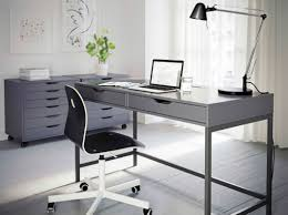 ikea desks for home office a grey home office with alex desk and