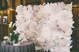 wedding backdrop flower wall pancakes glue guns diy paper flower wall
