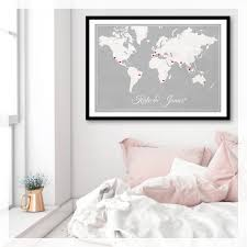 World Map Artwork by Custom Vintage Wedding World Map