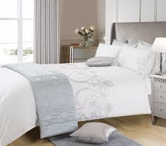 white grey silver colour stylish embroidered duvet cover luxury beautiful bedding