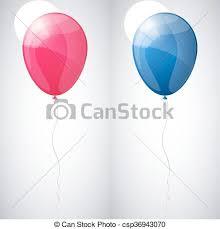 Pink and blue shiny glossy balloons vector illustration set