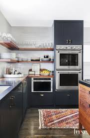 Kitchen Cabinet Features Fantastic Kitchen Features Navy Blue Shaker Cabinets Adorned Aged