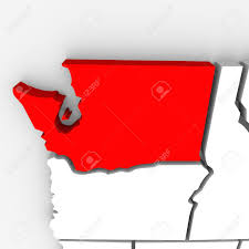 Maps Of Washington State by A Red Abstract State Map Of Washington A 3d Render Symbolizing