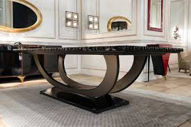 art deco dining table solid wood macassar ebony painted