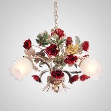 red flower twig fixture 3 light bathroom chandeliers