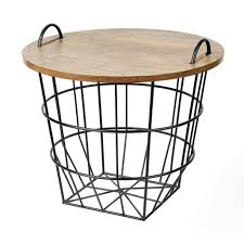 Industrial Wire And Wood Basket Side Table Wood Basket Wire