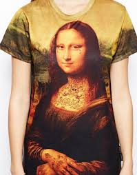 criminal damage t shirt with mona lisa tattoo print in yellow lyst