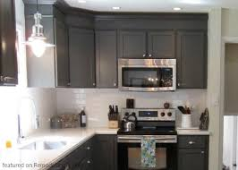 grey kitchen cabinets with white countertop remodelaholic painted grey kitchen cabinets in a