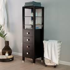Bathroom Tower Storage Bathroom Cabinets Height Black Stained Floor Cabinet For