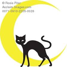 silhouette of a black cat in front of a crescent moon clip picture