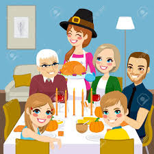 happy family thanksgiving dinner together with serving