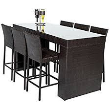High Table Patio Furniture Amazon Com Outsunny 7 Piece Outdoor Rattan Wicker Bar Pub Table