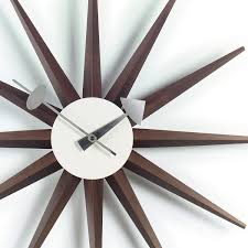 Designer Clock by Walnut Sunburst Wall Clock Designer Clocks Apres Furniture