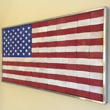 Flag Ir Industrial Rustic End Grain American Flag Wall Hanging