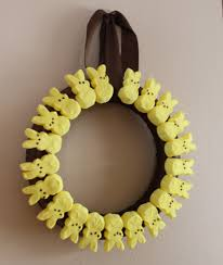 frugal easter craft marshmallow peeps wreath mommysavers