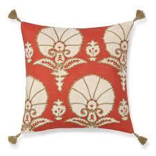 Ottoman Pillow Ottoman Floral Velvet Applique Pillow Cover Coral Williams Sonoma