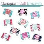 Monogrammed Cuff Bracelet Monogrammed Cuff Bracelets In Colors