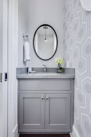 Powder Bathroom Vanities Caesarstone Pebble Powder Room Transitional With Gray Wallpaper