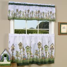 kitchen kitchen garden window curtains with white song bird