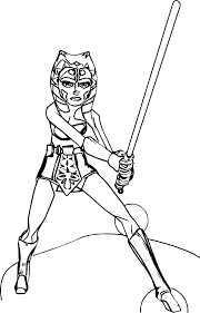 ahsoka tano fighting pose coloring page wecoloringpage