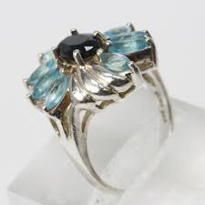 light blue sapphire ring silver 4g blue sapphire ring with light blue stones property room