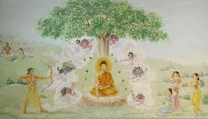 the sacred murals of sarnath buddha bodhi tree paint pattern