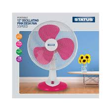 12 inch 3 speed oscillating fan buy status 12 oscillating 3 speed pink desk fan uk potters