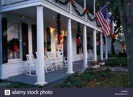 texas salado christmas decorations and white wooden rocking chairs