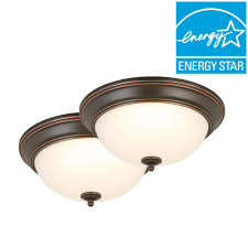 Flush Mount Ceiling Lights Home Depot Commercial Electric 13 In 2 Light Rubbed Bronze Flushmount