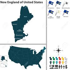 Map New England States by Vector Set Of New England Of United States With Flags And Map