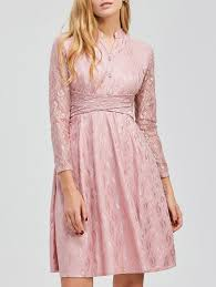 lace dresses pink m long sleeve lace knee length dress gamiss