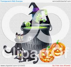 clipart of a witch behind a boiling happy halloween cauldron with