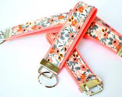 fabric key fob pink key lanyard etsy