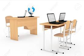 Modern School Desks Modern Classroom Concept School Desks With Laptops In Classroom