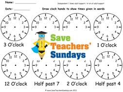 drawing clock hands time in words ks1 worksheets lesson plans