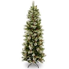 7 5 pre lit slim wintry pine artificial tree with cones