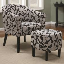 Brown Accent Chair Black And Gray Floral Pattern Velvet Chair With Round Ottoman In