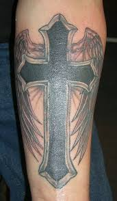 cross with wings on arm designs pictures
