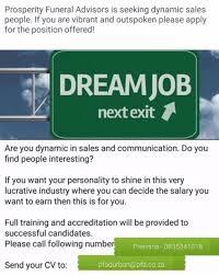Www Seeking Co Za Prosperity Funeral Advisors Are Seeking Sales Staff To Market
