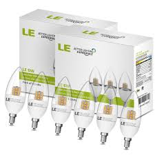le better lighting experience pack of 6 units dimmable 6w c37 e12 led bulbs le