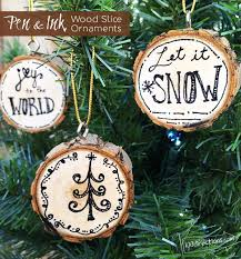 pen and ink wood slice ornaments 100 directions