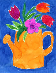watering can flowers flower crayons and watercolor