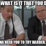 Office Space Meme Maker - office space what do you do here meme generator imgflip