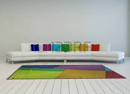 Curved White Sofa by Modern Curved White Couch With Colorful Cushions In The Colors