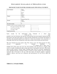 waiver of lien template arizona professionals mechanic lien forms s waiver form cover